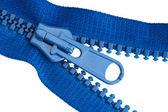 Blue sewing zipper macro — Stock Photo
