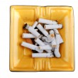 Ashtray with cigarette butts macro — Stock Photo