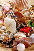 Gold Jewelry with seashells — Stock Photo