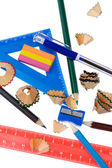 Pencil shavings with school tool close up — Stock Photo