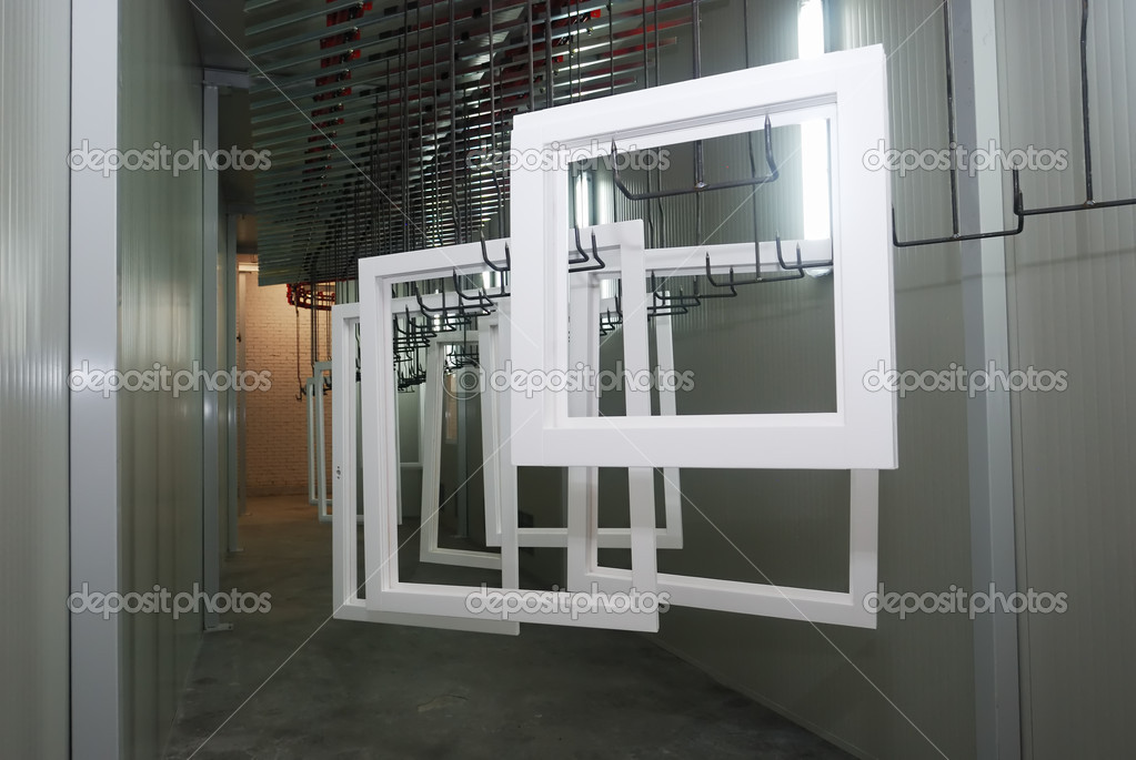 Making of wooden windows in the factory shop — Stock Photo #4166306