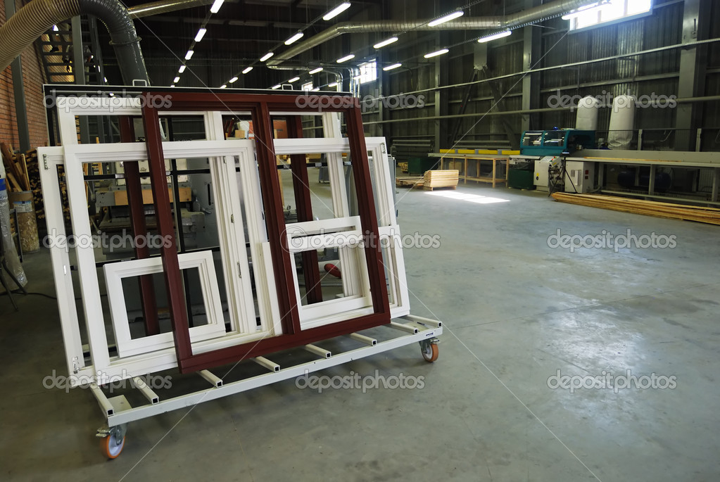 Making of wooden windows in the factory shop — Stock Photo #4166318
