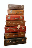 Pile of battered old suitcases — Stock Photo