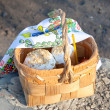 Easter basket with bread — Stock Photo