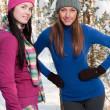 Stock Photo: Two young beautiful girls in winter