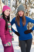 Two young beautiful girls in winter — Stock Photo