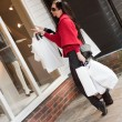 Happy smiling women shopping with white bags — Stock Photo #4099247