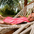 Young woman in hammock — Stock Photo #5037219
