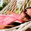 Young woman in hammock — Stock Photo #5037220