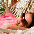 Young woman in hammock — Stock Photo #5037224