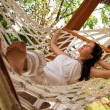 Young woman in hammock — Stock Photo #5037237