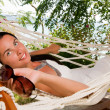 Young woman in hammock — Stock Photo #5037242