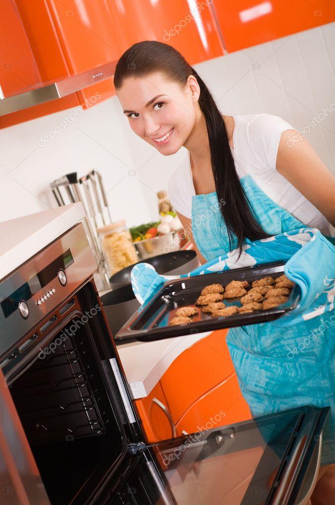 woman in beautiful kitchen