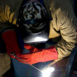 Stock Photo: Welder welding with acetylene arc