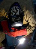 Welder welding with acetylene arc — Stock Photo