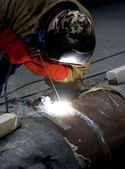Welder welding with acetylene arc — Stock Photo