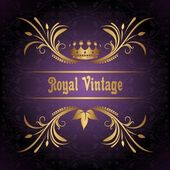 Vintage frame with crown — Stock Vector