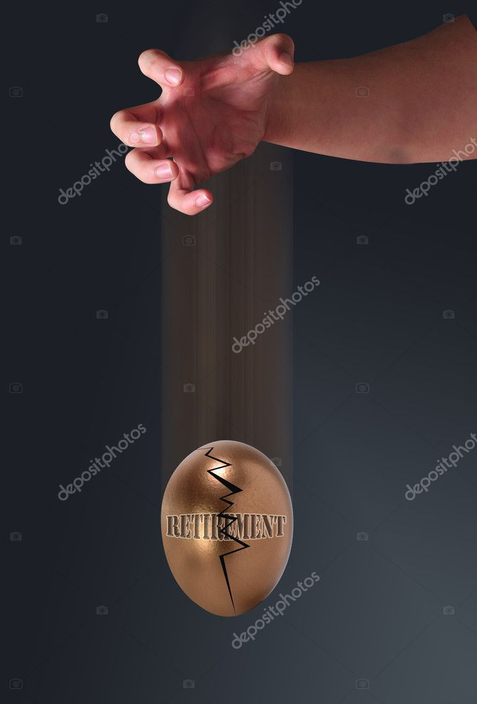 Droping golden egg of retirement.  Stock Photo #4391931