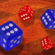 Stock Photo: Lucky red and blue dice.