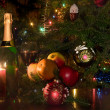 Candle and christmas-tree decorations — Stock fotografie