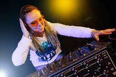Dj woman playing music by mikser — Stock Photo