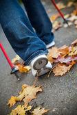 Nordic camminando gara sul sentiero d'autunno — Foto Stock