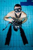 Underwater camera operator — Stock Photo