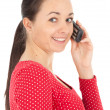 Pimpled woman with phone — Stock Photo