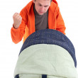 Bad father with baby buggy - Stock Photo