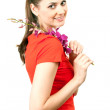 Smiling woman with orchid — Stock Photo #3932327