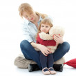 Little girl with mom and teddy — Stock Photo