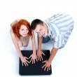 Couple with big black box — Stock Photo #3933119