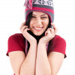 Stock Photo: Smiling girl in winter cap