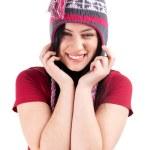 Smiling girl in winter cap — Stock Photo