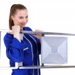 Woman with metal ladder — Stock Photo #3933523