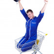 Stock Photo: Motorcyclist in shopping cart