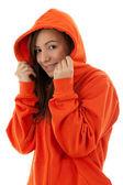 Woman in sweatshirt founding hood on head — Stock Photo
