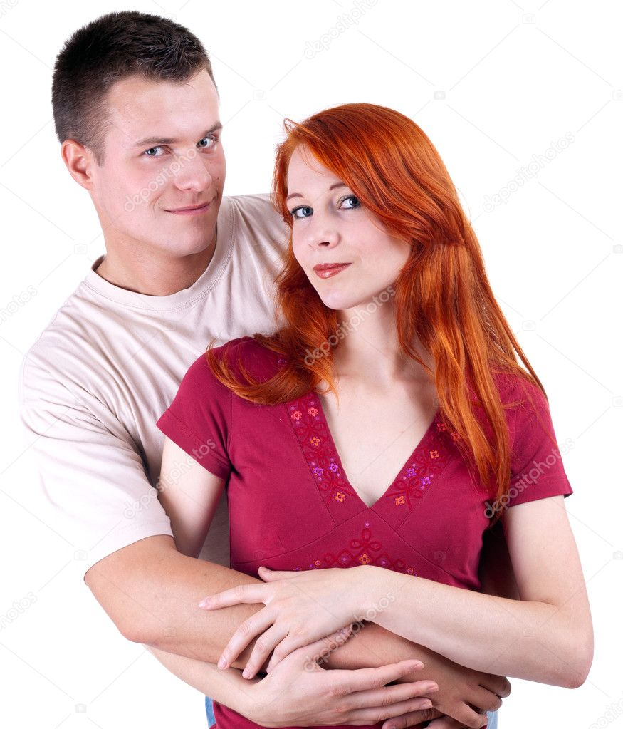 Young loving woman and man hugging each other — Stock Photo #3932598