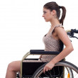 Invalid woman on the wheelchair - Stockfoto