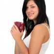 Young woman with red cup — Stock Photo