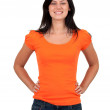 Stock Photo: Smiling woman in orange blouse