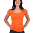 Smiling woman in orange blouse — Stock Photo