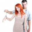 Two persons joint by handcuffs — Stock Photo #3948042