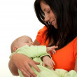 Stock Photo: Happy mother with baby over white