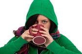 ホット ・何かのカップを持つ女性 — ストック写真