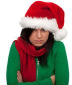 红色圣诞帽子的女人 — 图库照片