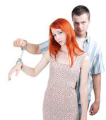 Two persons joint by handcuffs — Stock Photo