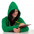 Smiling woman in hood — Stock Photo