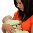 Happy mother with baby over white — Stock Photo #4000750