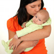 Stock Photo: Mother kissingher newborn boy
